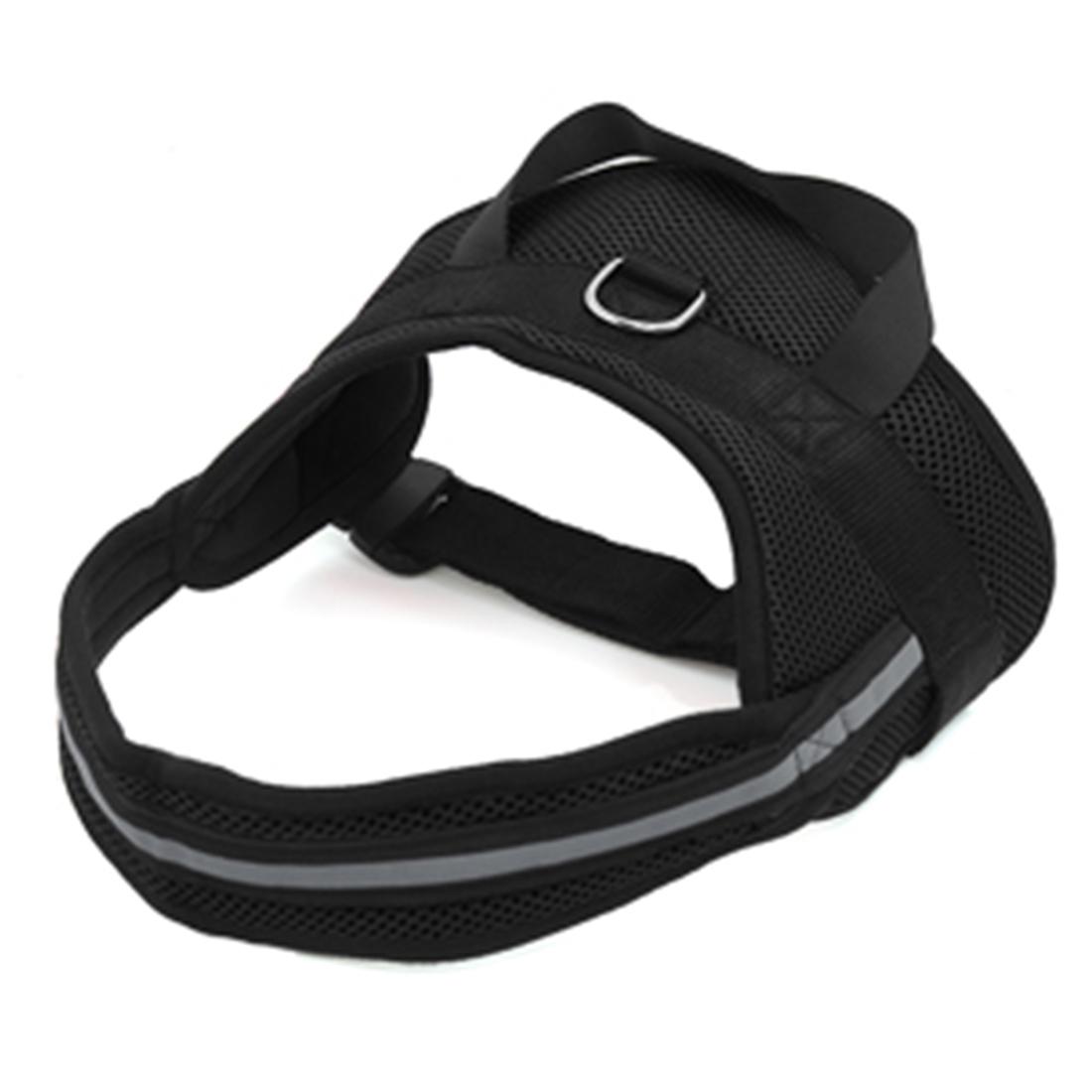 Big Dog Soft Mesh Reflective No Pull Harness Adjustable Large Pet Walk Vest Safe Control Collar Black XS