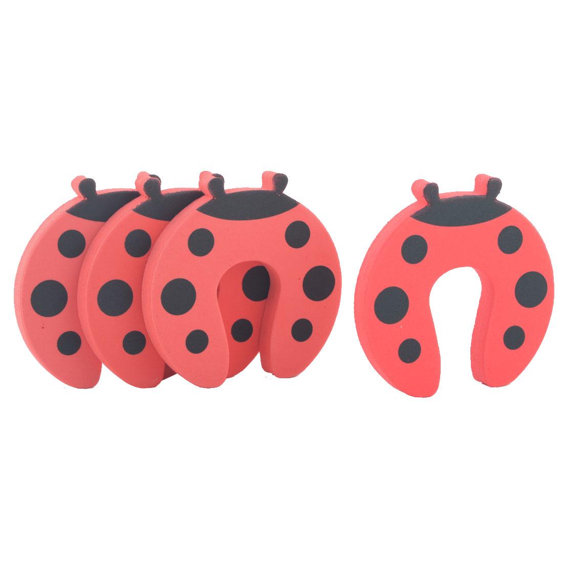 EVA Cartoon Red Ladybird Finger Protector Safety Guard Door Stopper Lock 4pcs