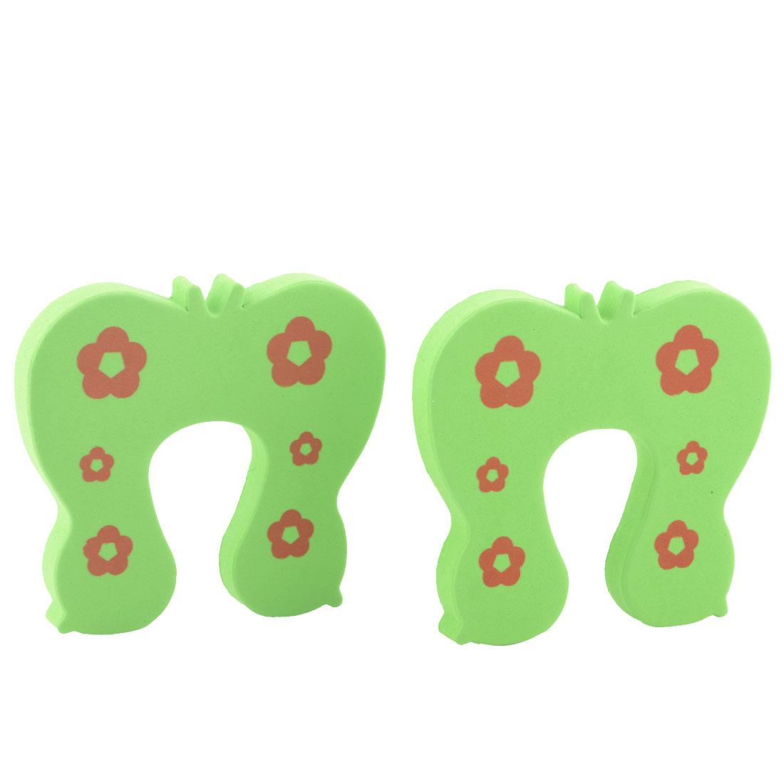 EVA Green Butterfly Finger Protector Safety Guard Doorstop Door Stopper Lock 2pcs