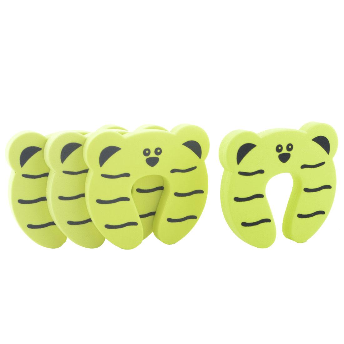 EVA Yellow Tiger Shape Finger Protector Safety Guard Doorstop Door Stopper Lock 4pcs