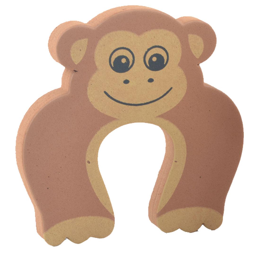 EVA Cartoon Brown Monkey Shape Finger Protector Guard Door Stopper Lock