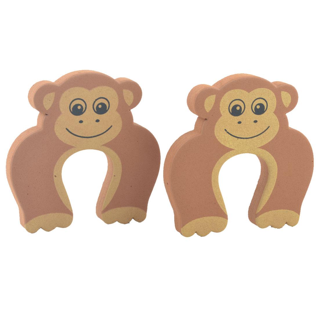 Home EVA Brown Monkey Finger Protector Safety Guard Doorstop Door Stopper 2pcs