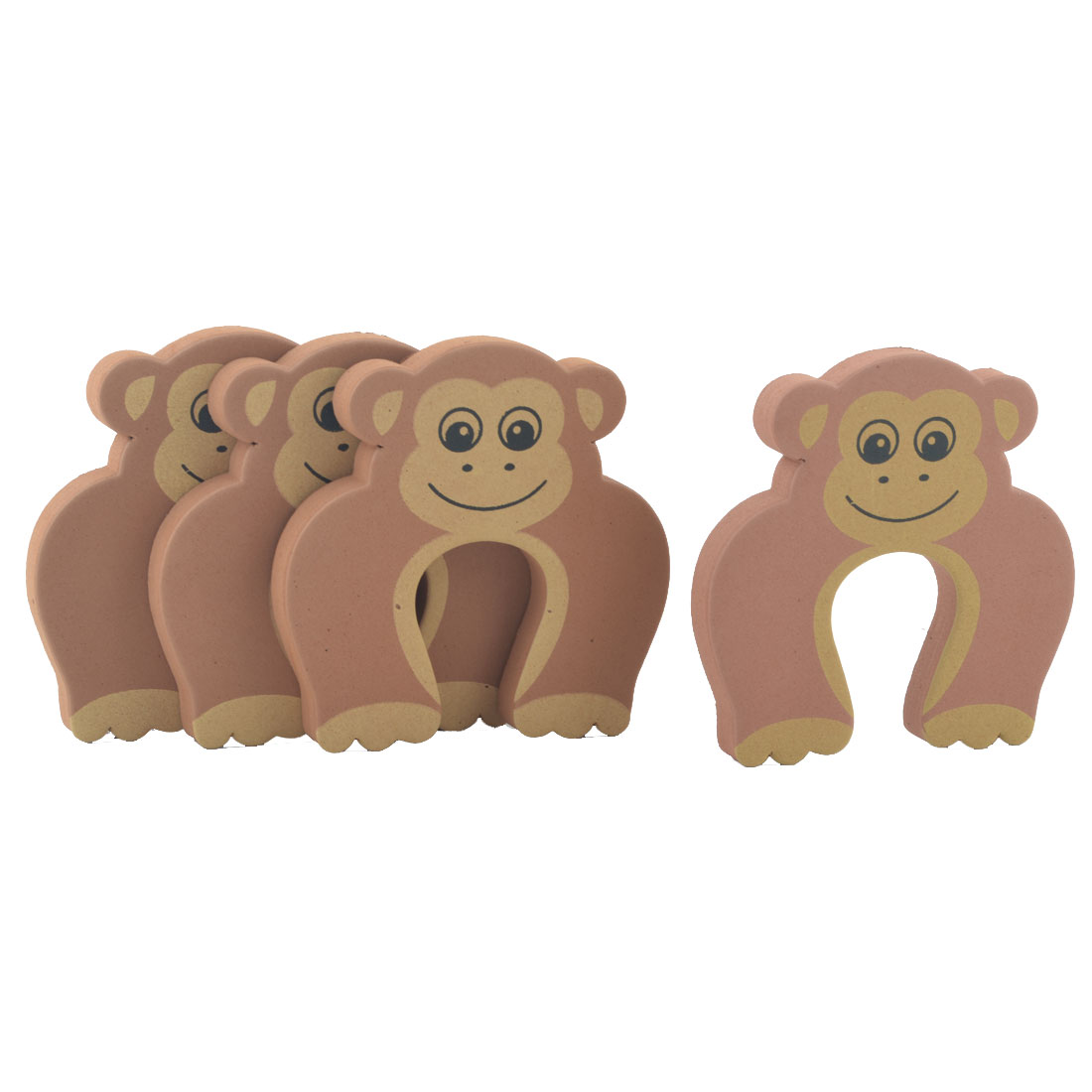 EVA Brown Monkey Shape Finger Protector Safety Guard Doorstop Door Stopper Lock 4pcs