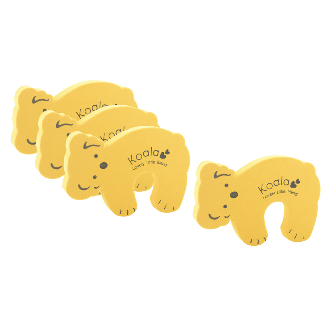 EVA Yellow Koala Shape Finger Safety Guard Doorstop Door Stopper Lock Clip 4pcs