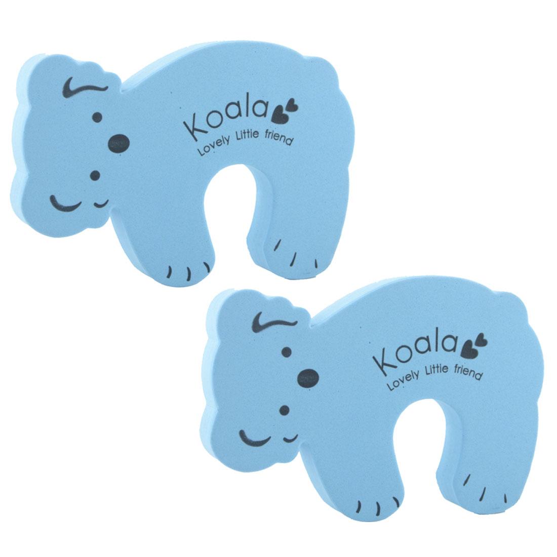 EVA Blue Koala Shape Finger Safety Guard Doorstop Door Stopper Lock Clip Edge 2pcs