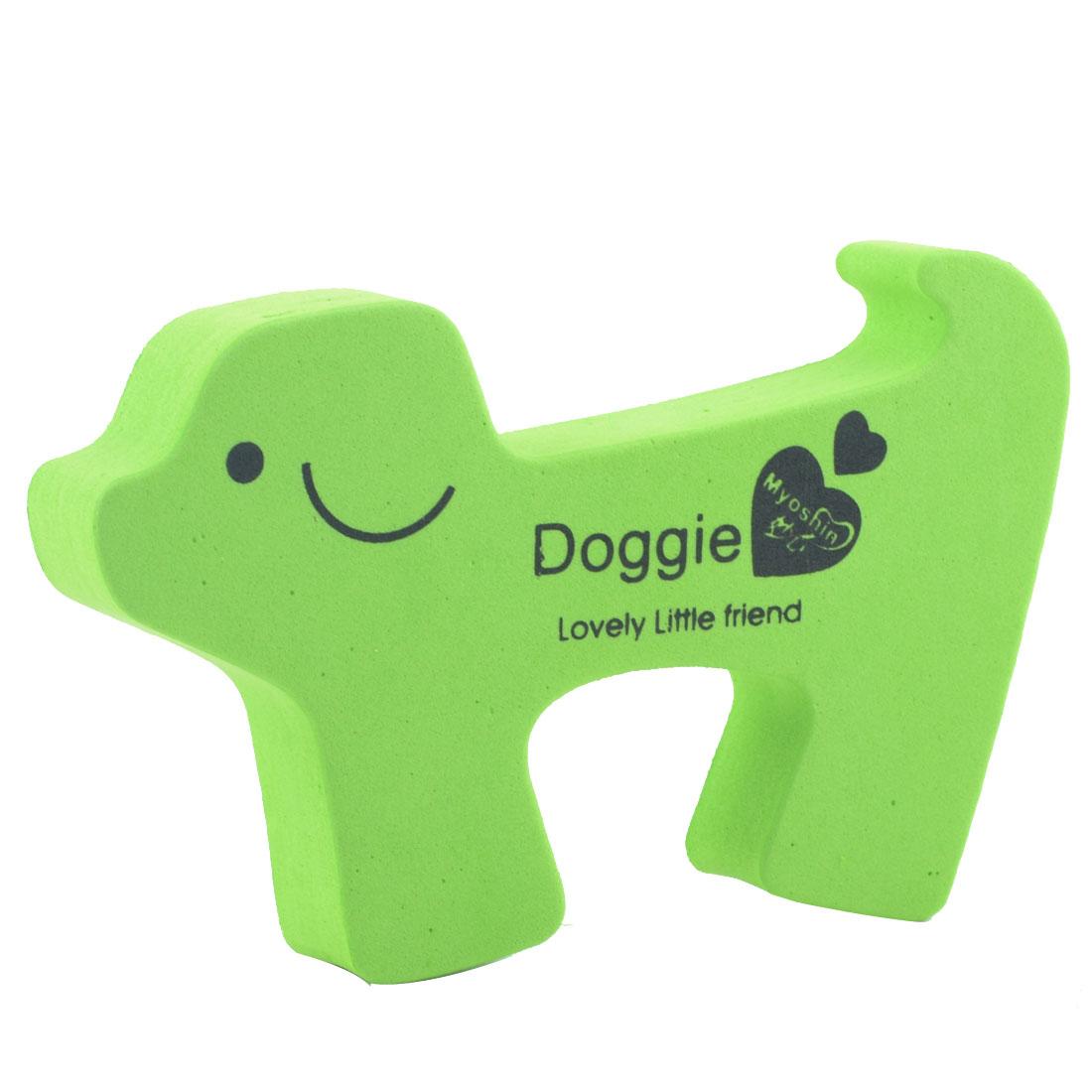 EVA Lovely Green Doggie Shape Finger Safety Guard Doorstop Door Stopper Lock