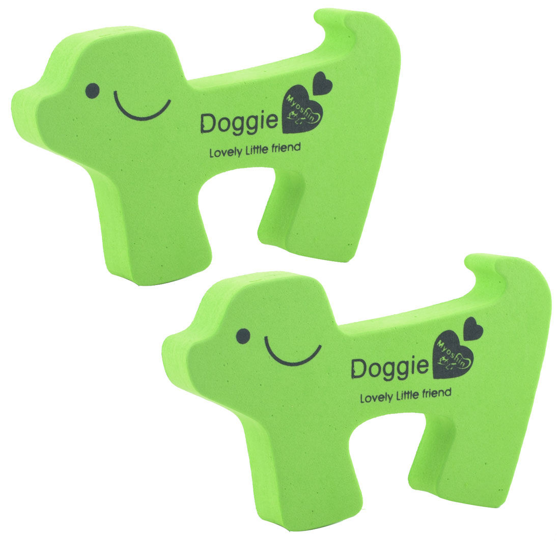 EVA Green Doggie Shape Finger Safety Guard Doorstop Door Stopper Lock Clip 2pcs