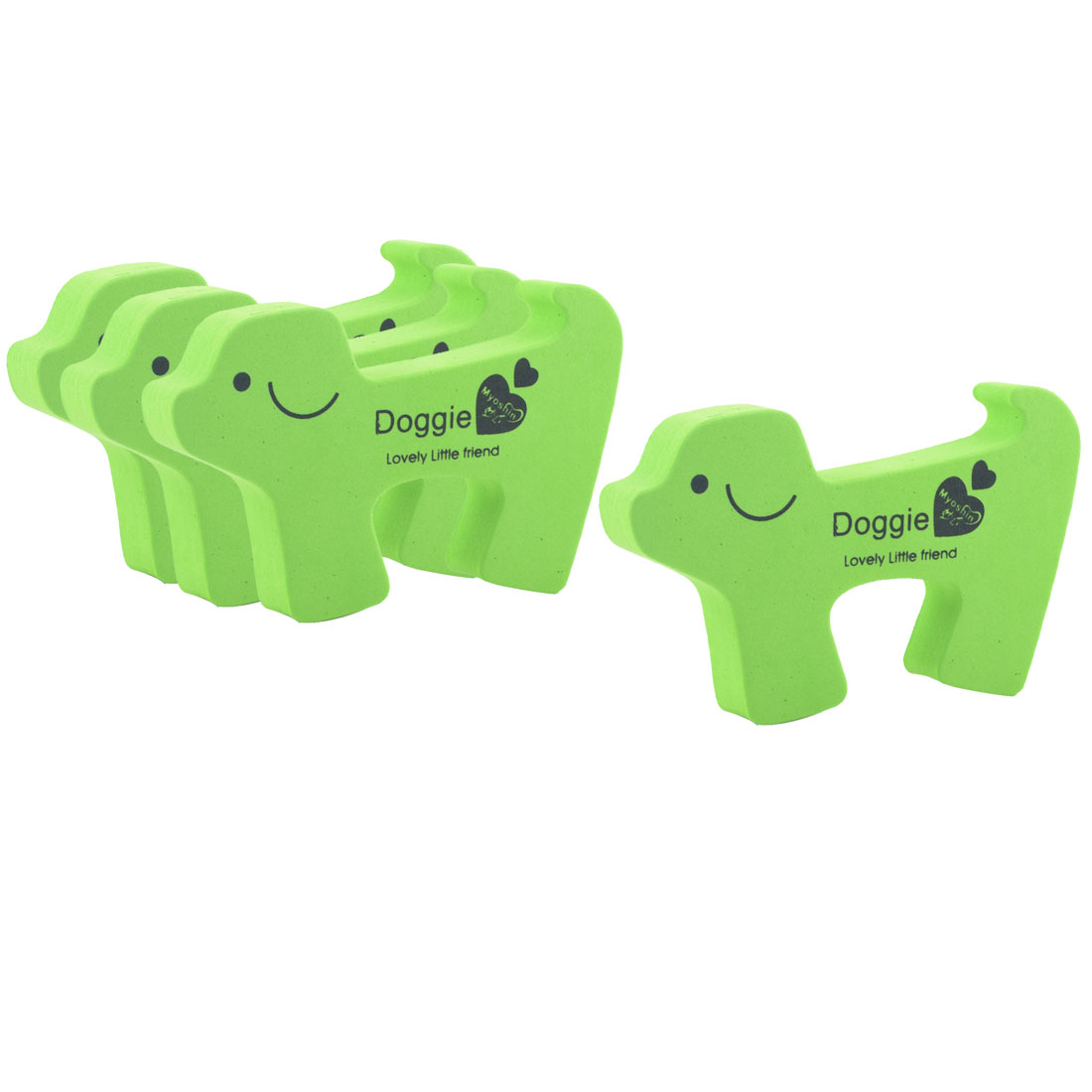 EVA Green Doggie Shape Finger Safety Guard Anti Punch Door Stopper Lock Clip 4pcs