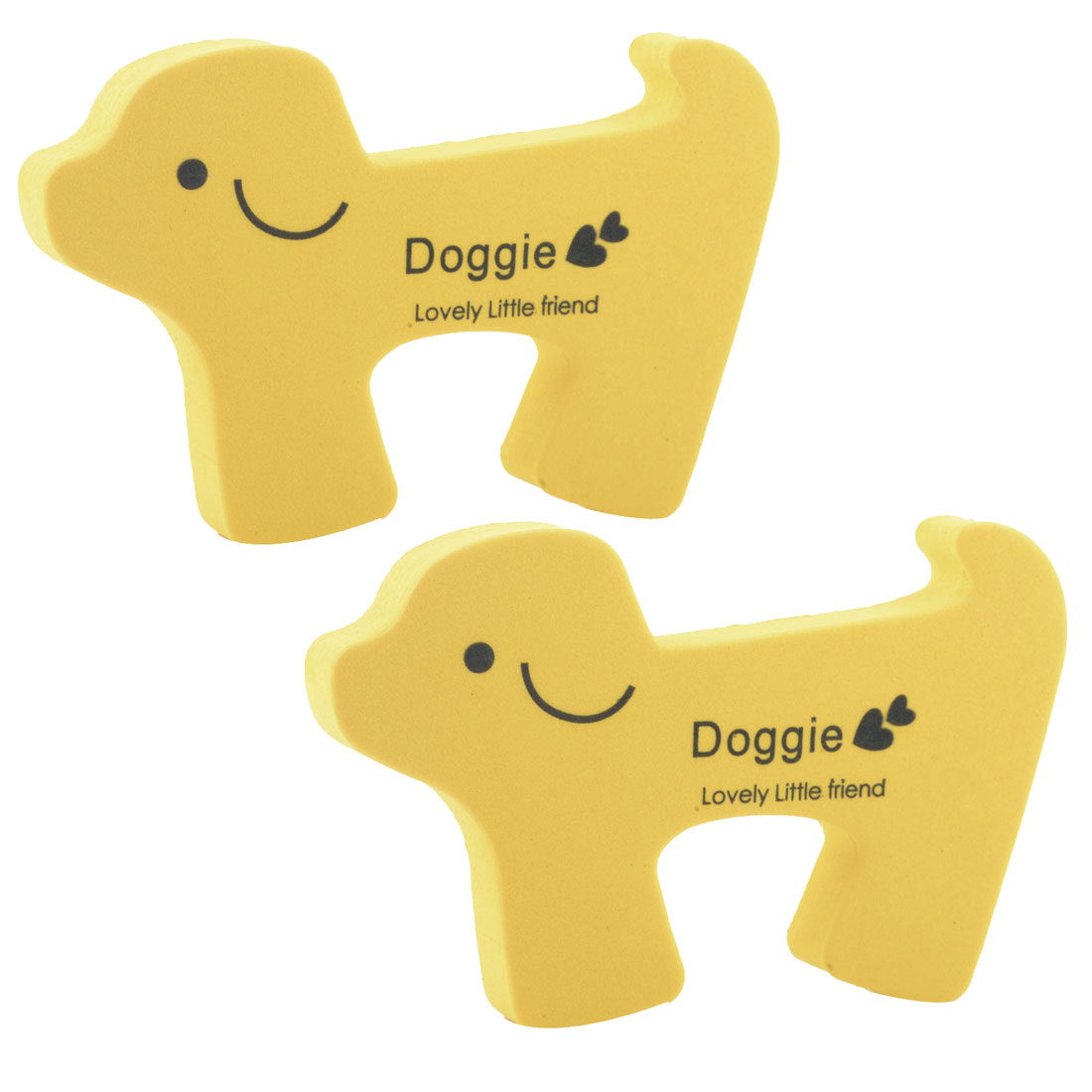 EVA Yellow Doggie Shape Finger Safety Guard Doorstop Door Stopper Protect Lock 2pcs
