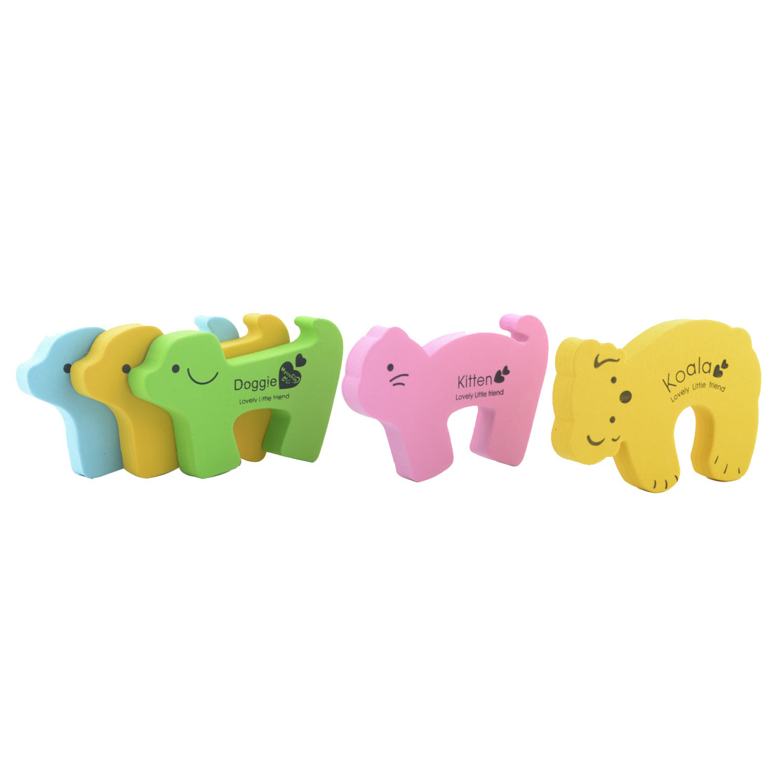 EVA Mixed Cartoon Animal Shape Guard Anti Punch Door Stopper Lock Clip 5pcs
