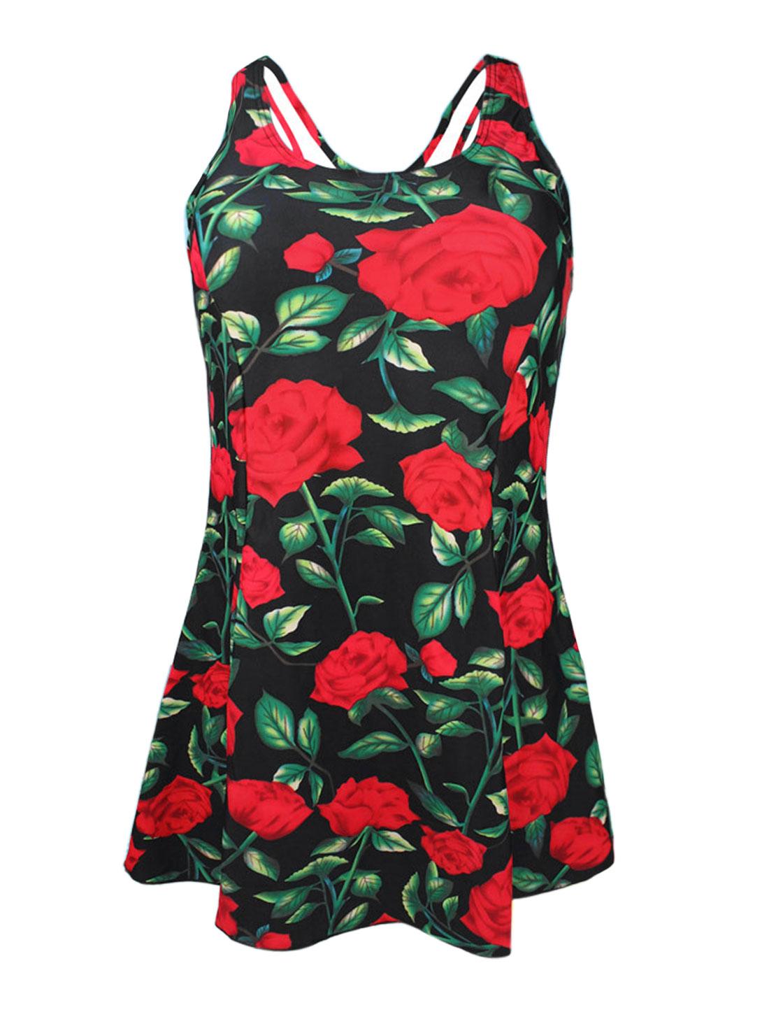 Women Vintage One Piece Floral Print Slim Bathing Suit Swimsuit Swimdress US 8 Cover Up