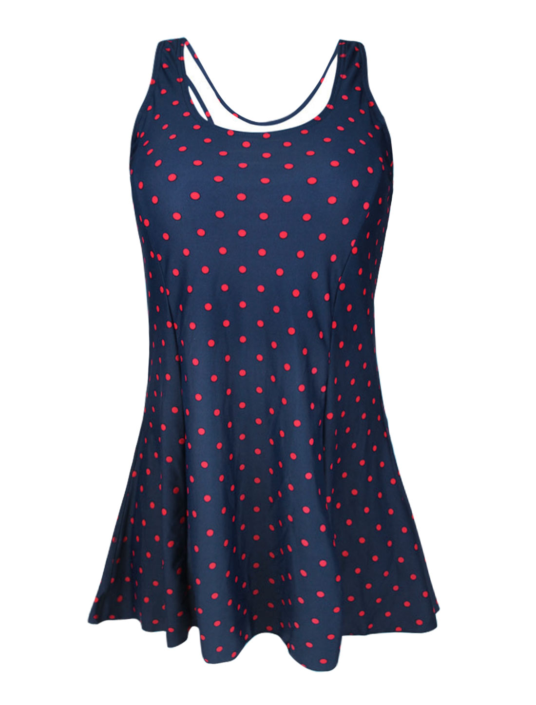Women Vintage One Piece Dots Slim Bathing Suit Swimsuit Swimdress US 8 Cover Up Navy