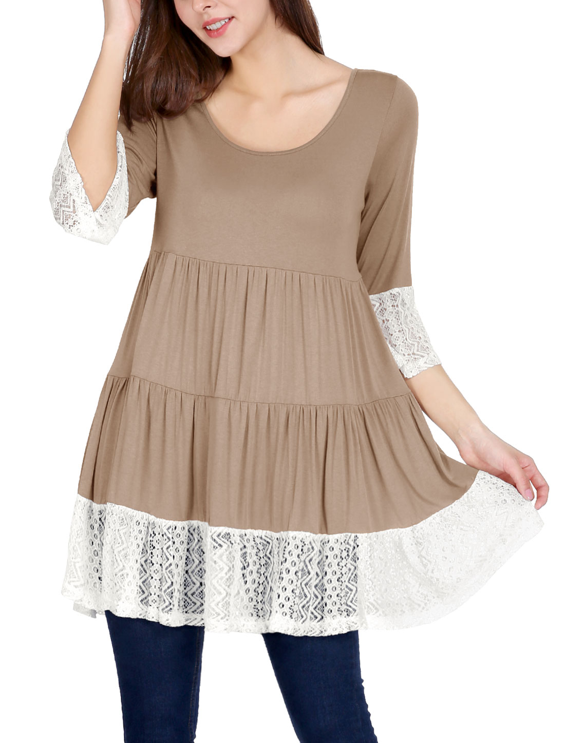 Women Trumpet Sleeves Lace Panel Ruffle Hem Loose Tiered Tunic Top Brown L