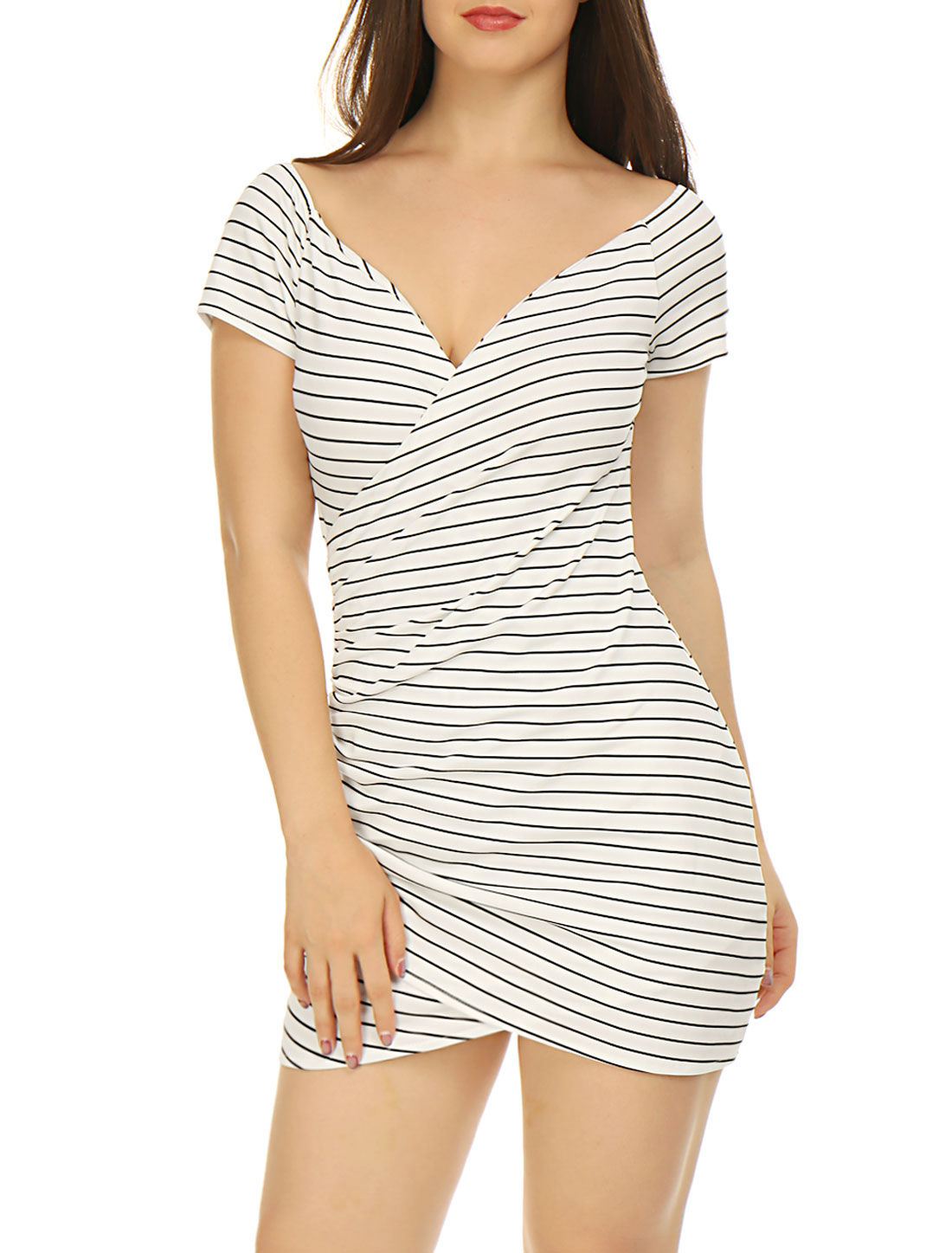 Women Striped Crossover V Neck Ruched Wrap Bodycon Dress White XS