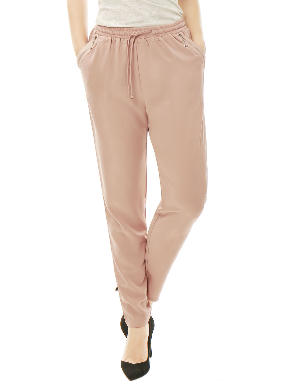 Women Drawstring Elastic Waist Slant Pockets Pants Pink XL