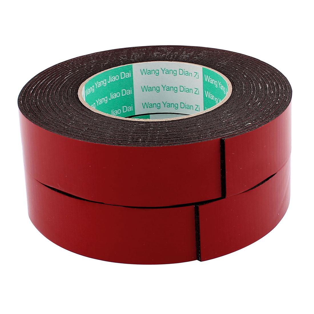 2 Pcs 30mmx2mm Double Sided Sponge Tape Adhesive Sticker Foam Glue Strip Sealing 5 Meters 16Ft