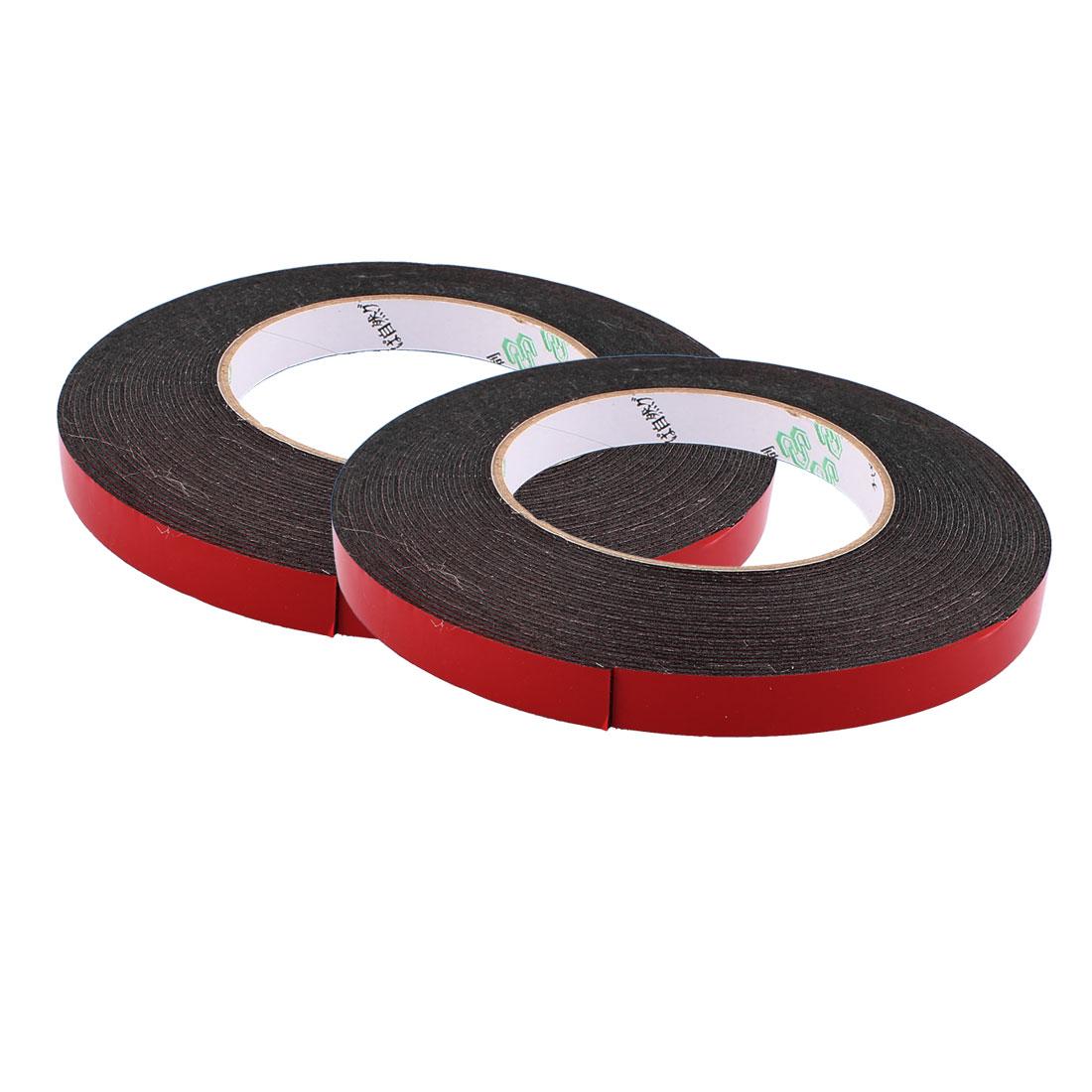 2 Pcs 1.2CM Width 10M Length 1MM Thick Dual Sided Sealing Shockproof Sponge Tape