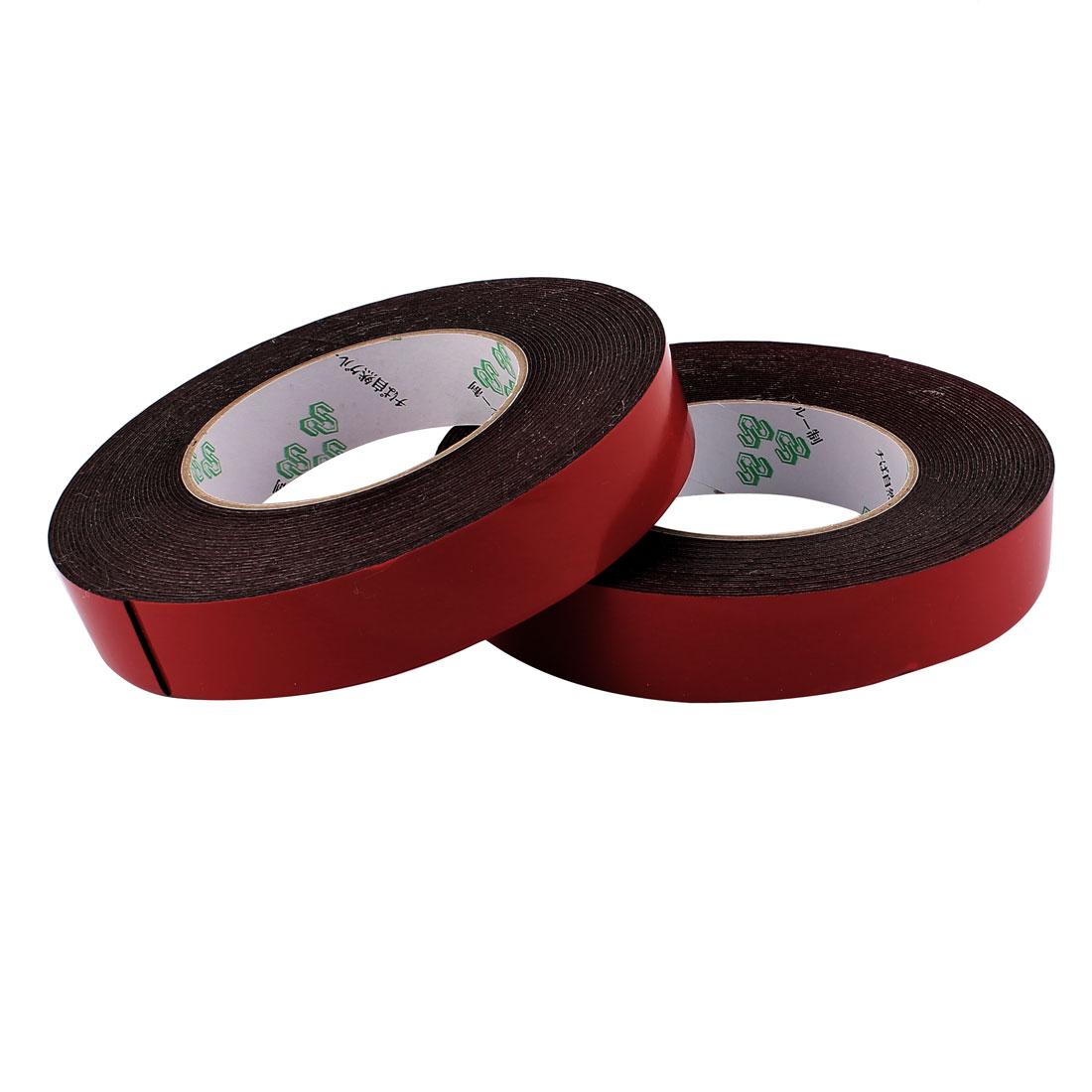 2 Pcs 2.5CM Width 10M Length 1MM Thick Dual Sided Sealing Shockproof Sponge Tape
