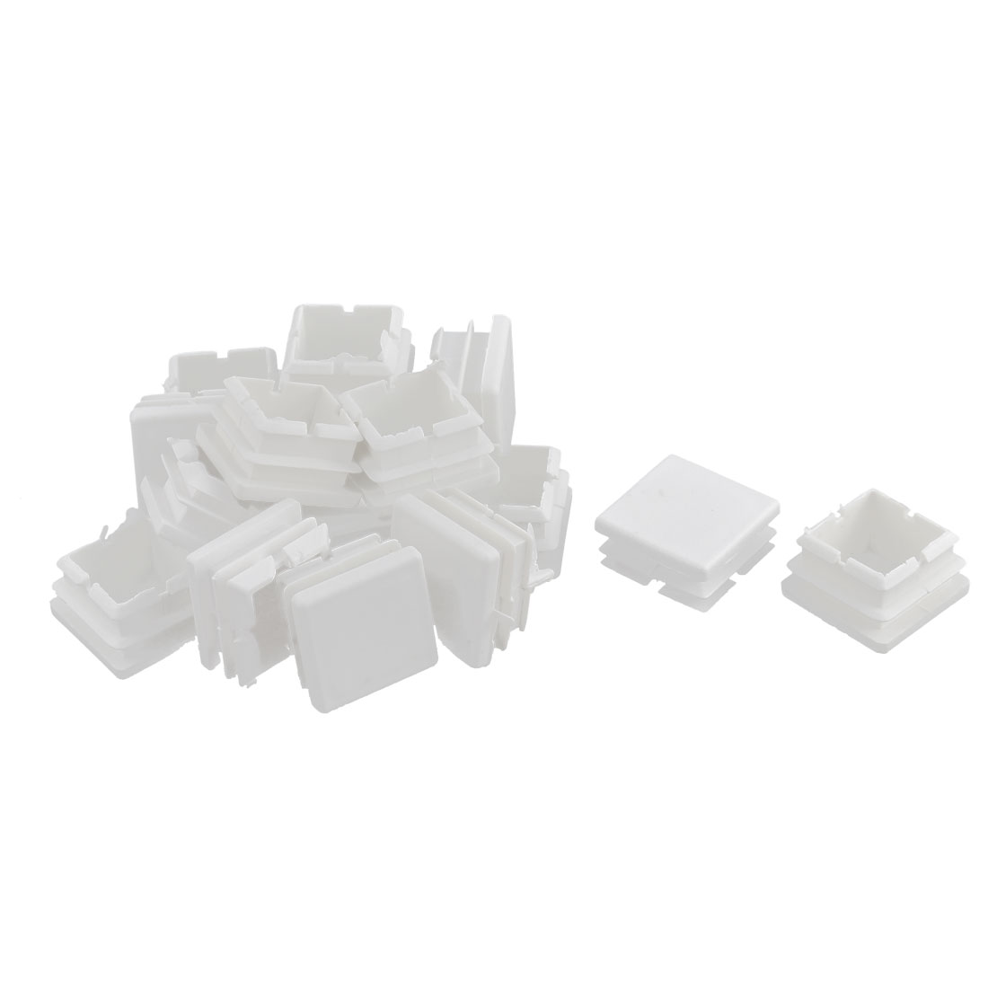 Table Feet Plastic Square Tube Pipe Inserts Caps White 25 x 25mm 16pcs