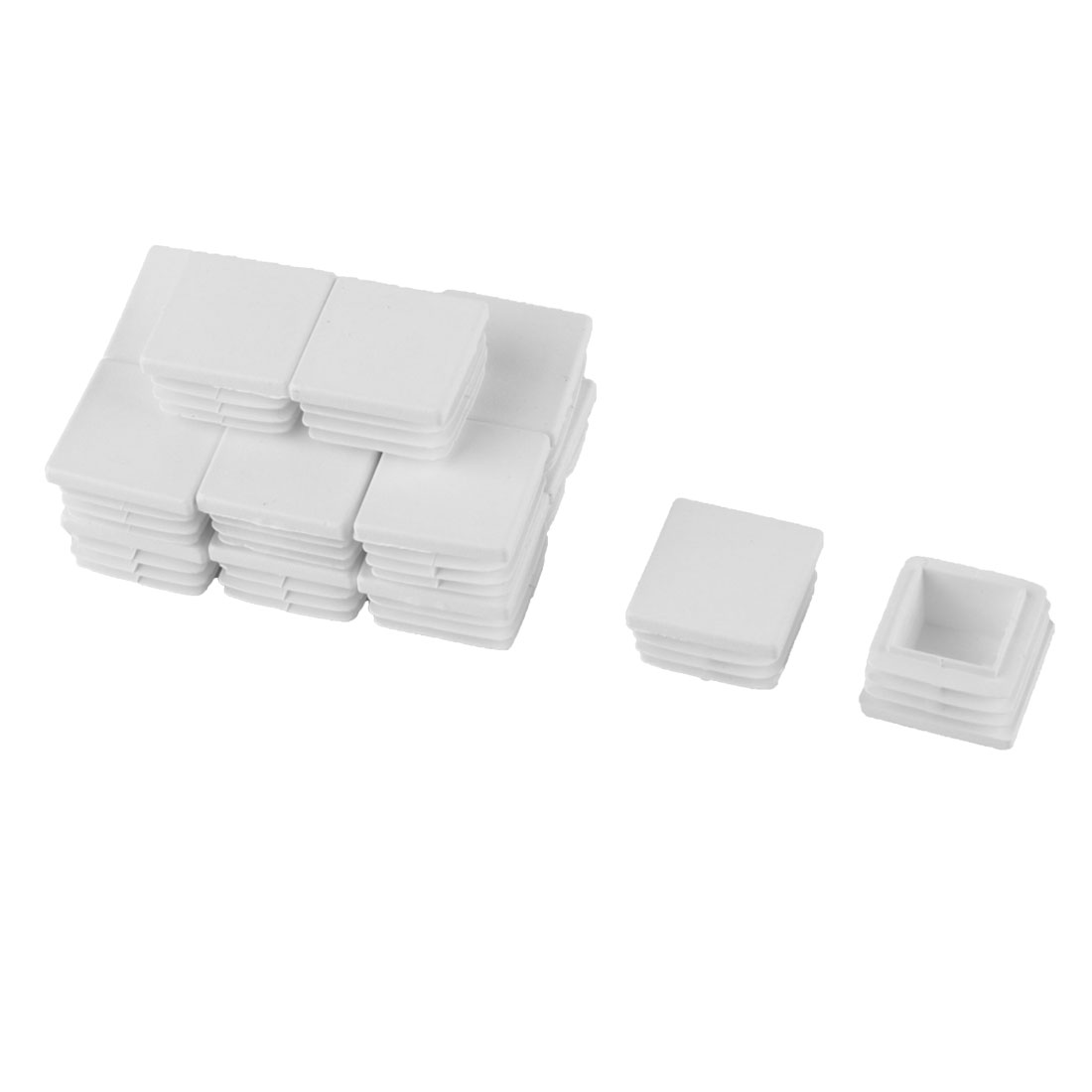 Table Feet Plastic Square Tube Pipe Inserts End Blanking Caps White 16pcs