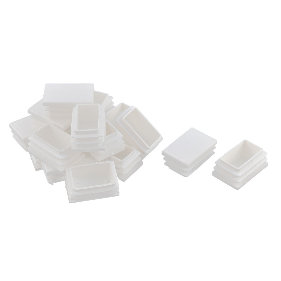Table Legs Feet Plastic Rectangle Tube Inserts End Blanking Caps White 16pcs