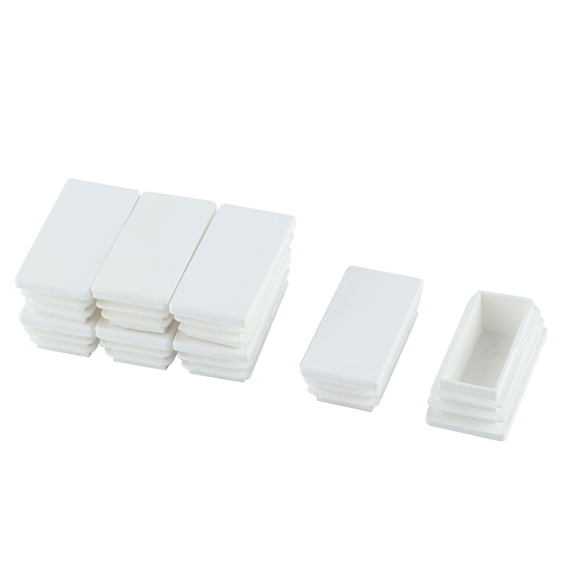 Furniture Table Legs Feet Plastic Rectangle Tube Inserts Plugs White 8pcs