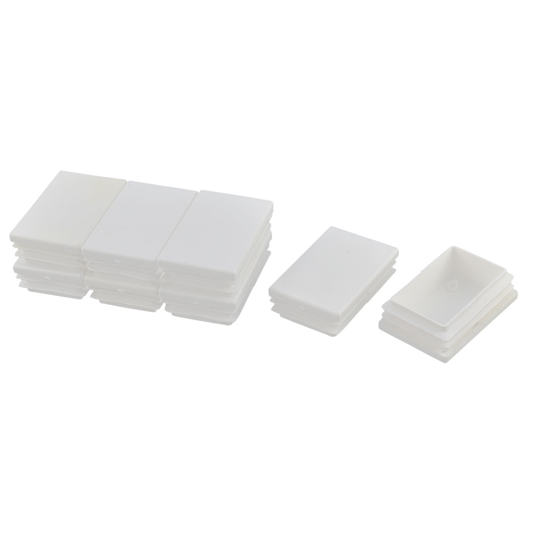 Furniture Legs Feet Plastic Rectangle Tube Inserts Bungs End Caps White 8pcs
