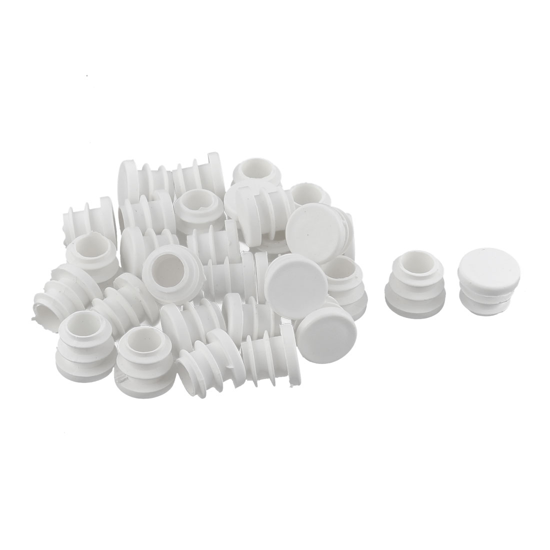 Desk Legs Plastic Round Shaped Tube Inserts End Blanking Caps White 32pcs