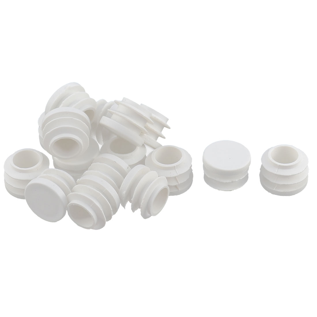 Desk Legs Plastic Round Tube Pipe Inserts End Blanking Caps White 16pcs