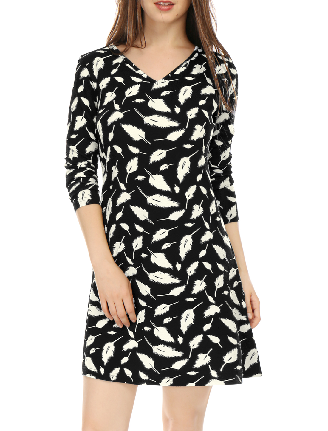 Women V Neck Long Sleeves Feather Print Mini Dress Black M