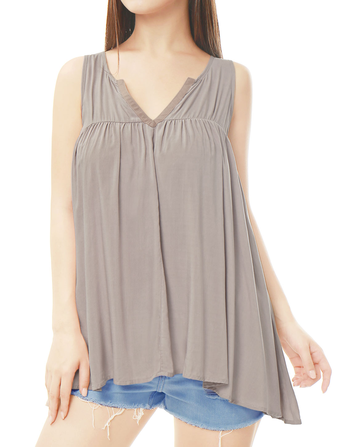 Women V Neck Irregular Hem Loose Sleeveless Flowy Top Gray XL