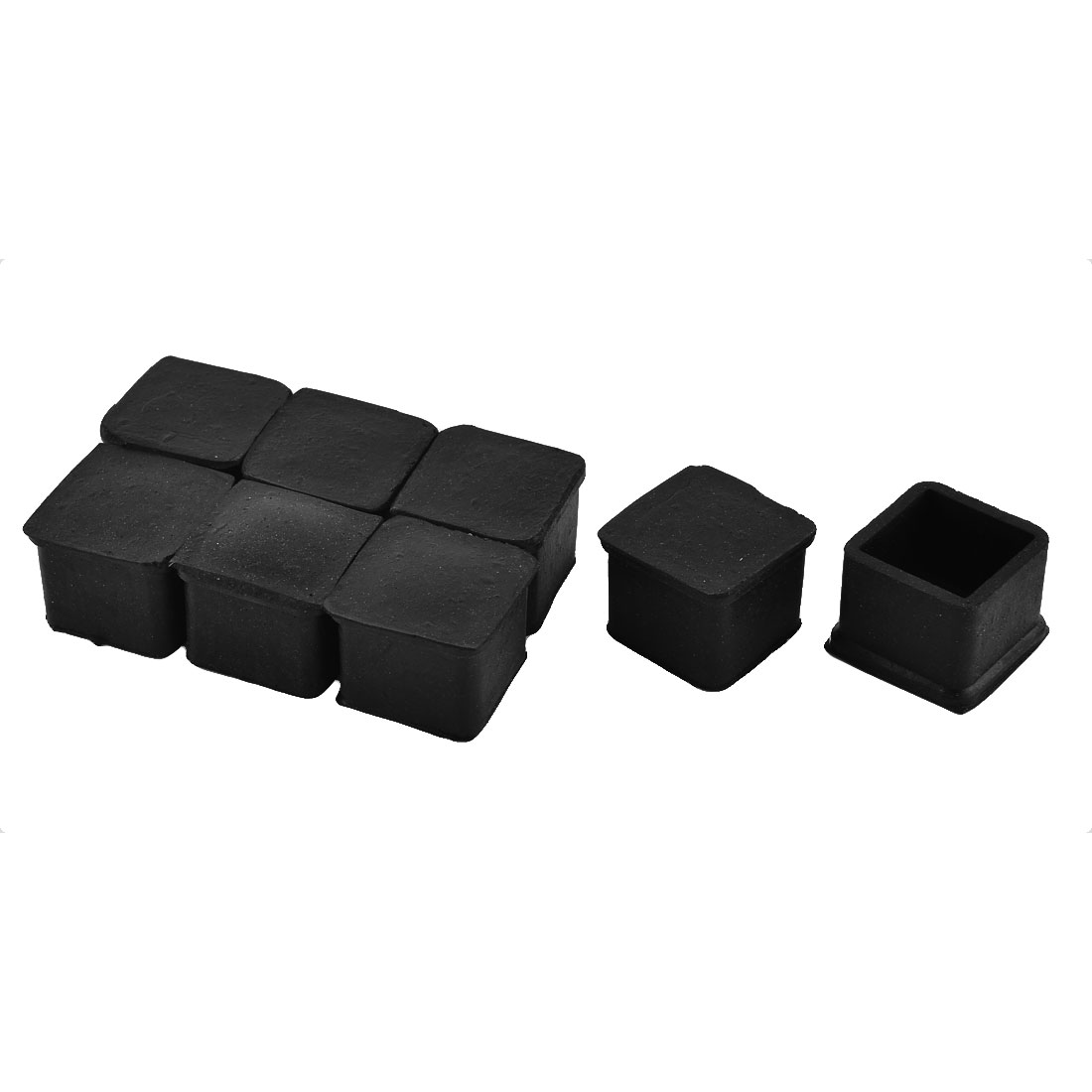 24mm x 24mm Square Shaped Furniture Table Desk Foot Rubber Caps Cover Black 8pcs