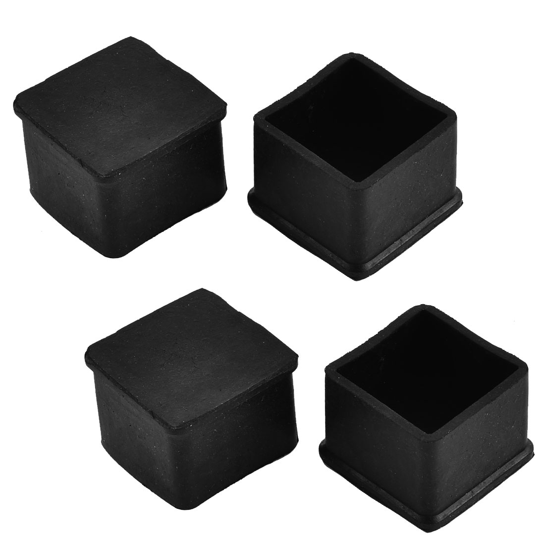 38mm x 38mm Square Shaped Furniture Table Desk Foot Leg Rubber End Cap Cover Black 4pcs