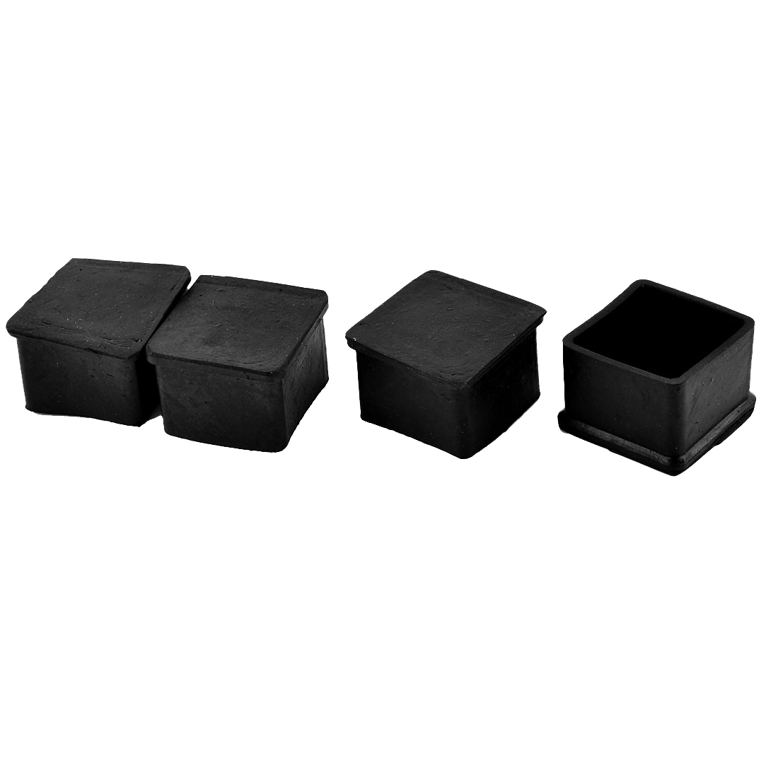 40mm x 40mm Square Shaped Furniture Foot Rubber End Caps Cover Black 4pcs