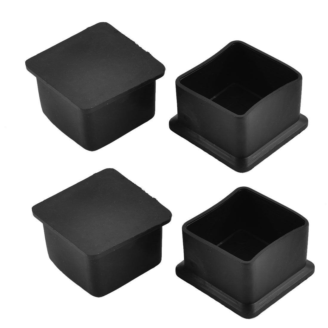 40mm x 40mm Square Shaped Furniture Table Desk Foot Rubber End Cap Cover Black 4pcs