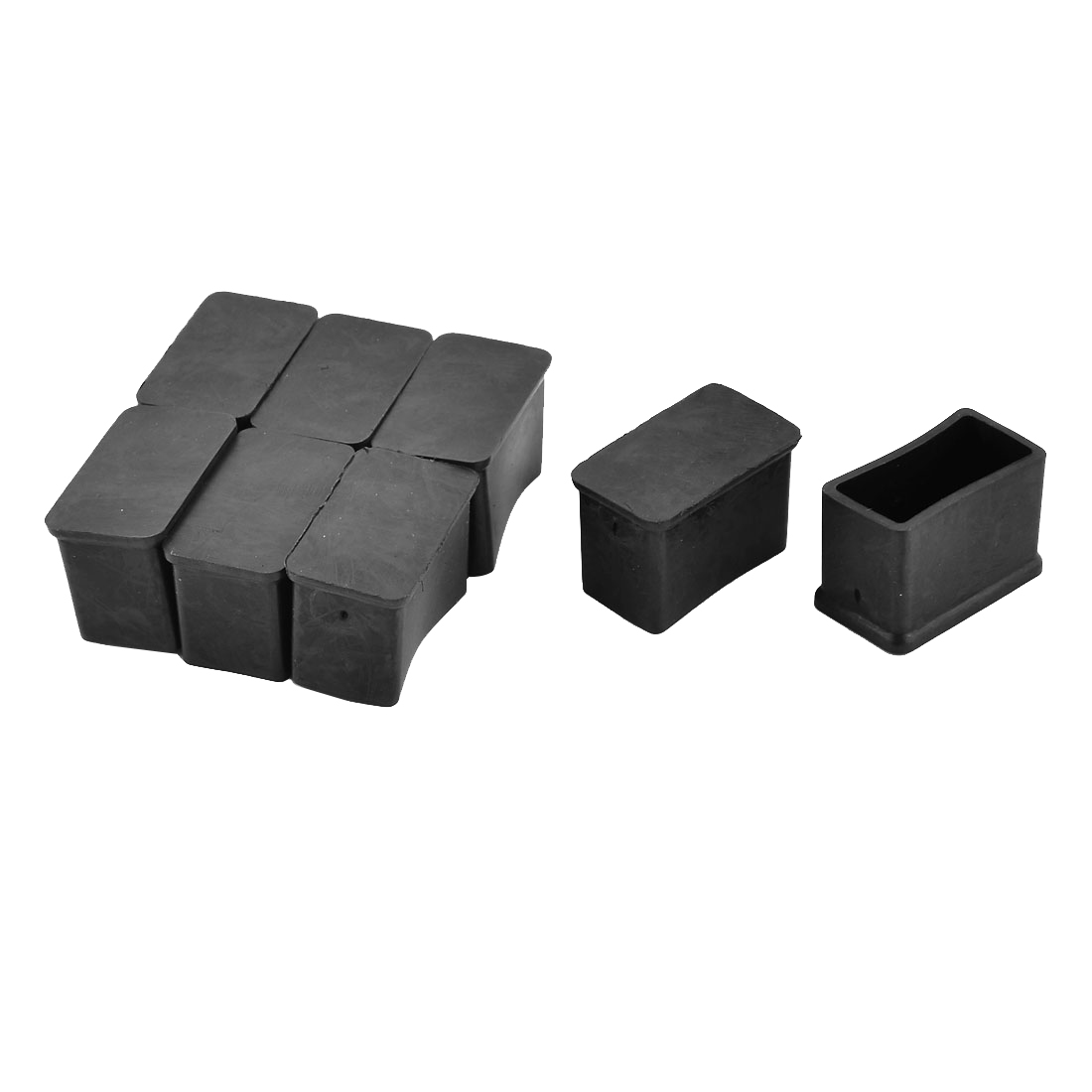 30mm x 15mm Rectangle Shaped Furniture Foot Leg Rubber End Cap Cover Black 8pcs