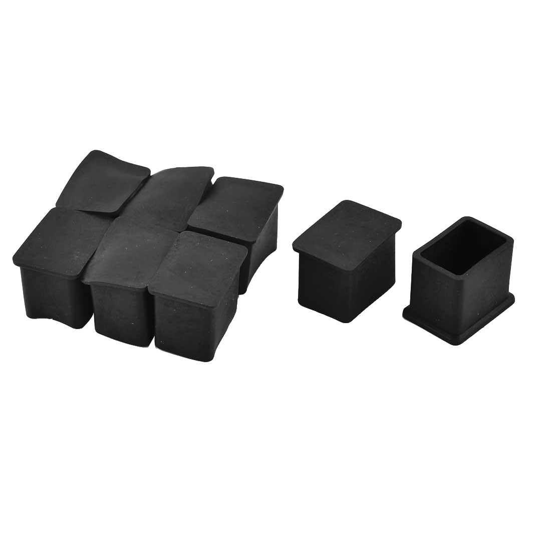 28mm x 19mm Rubber Square Shaped Furniture Chair Table Foot Cover Caps Black 8pcs
