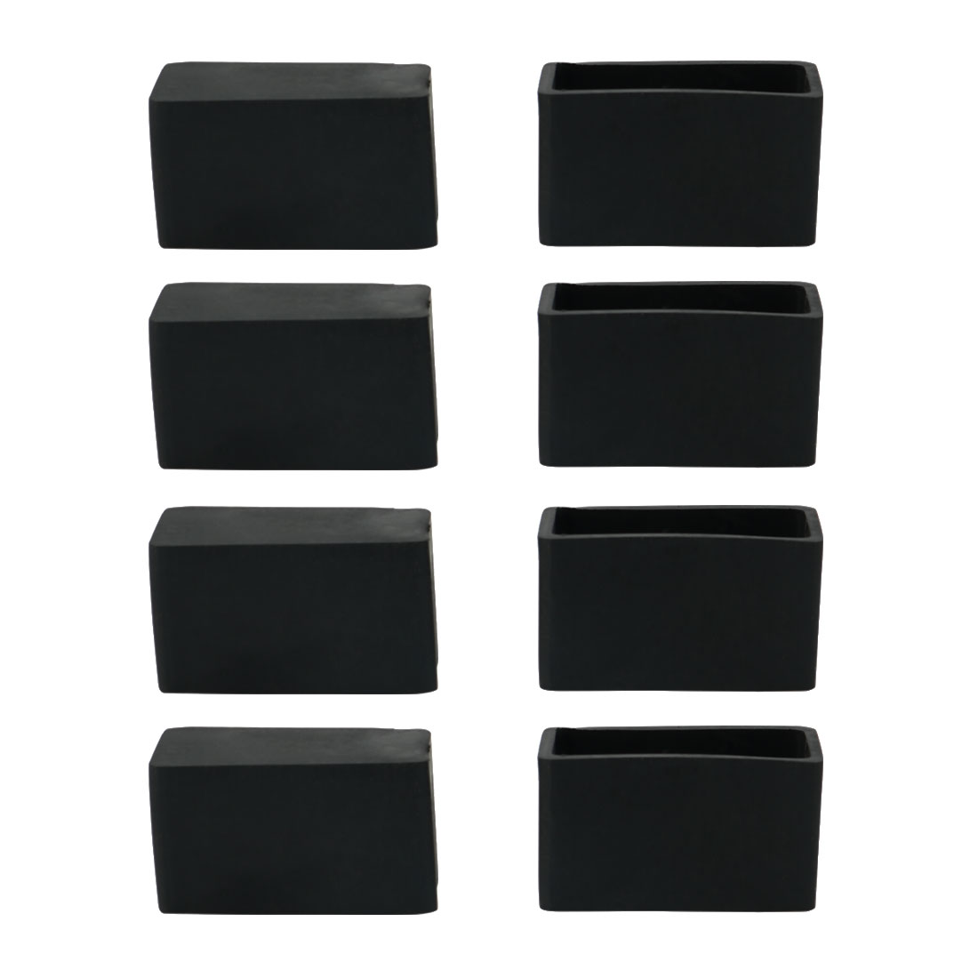 40mm x 20mm Rectangle Shaped Furniture Table Desk Foot Leg Rubber End Cap Cover Black 8pcs