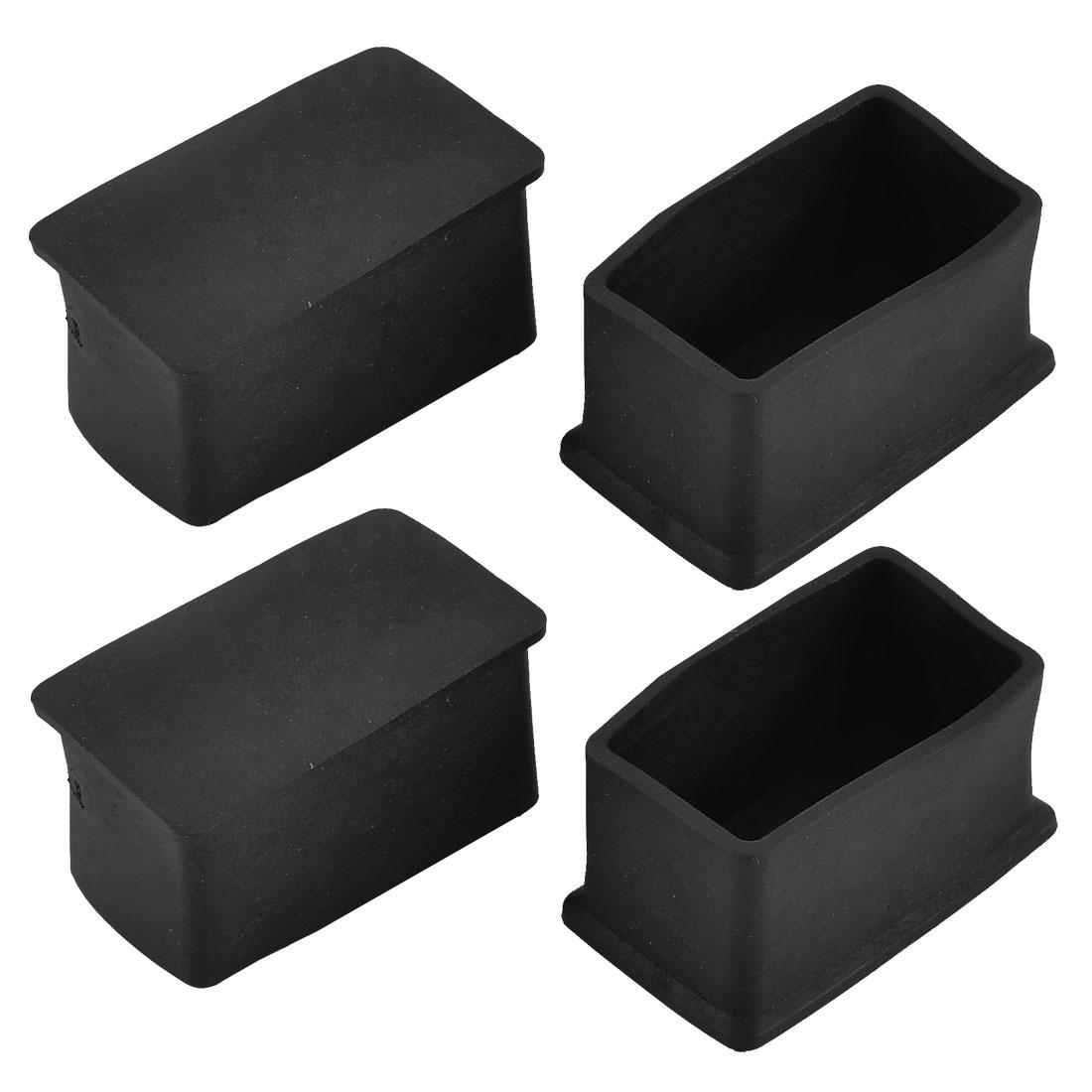 47mm x 25mm Rectangle Shaped Furniture Foot Leg Rubber End Caps Cover Black 4pcs