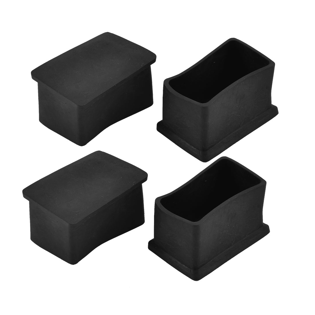 50mm x 30mm Rubber Square Shaped Furniture Table Foot Cover Caps Black 4pcs