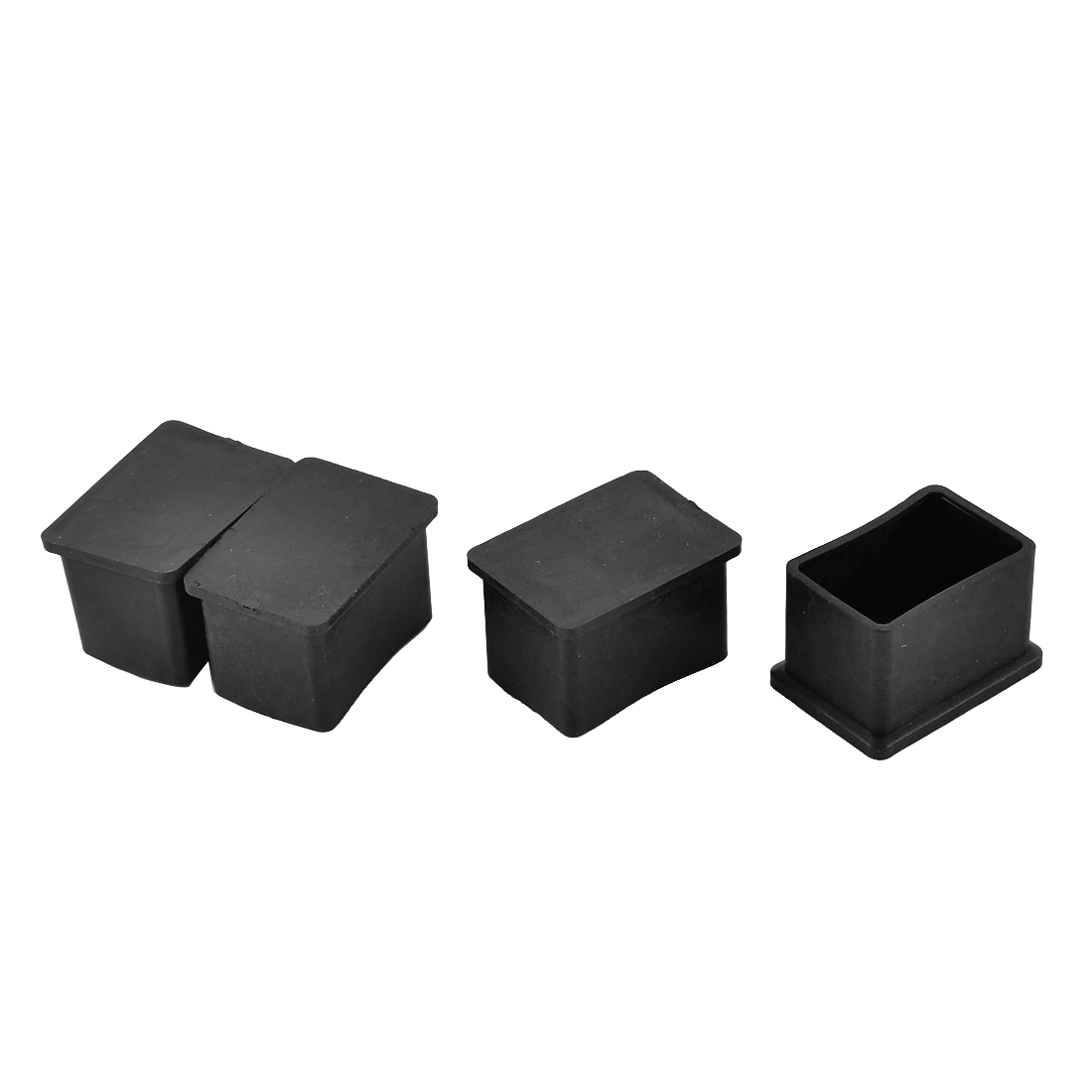 38mm x 25mm Rubber Furniture Table Desk Chair Foot Leg End Cap Cover Black 4pcs