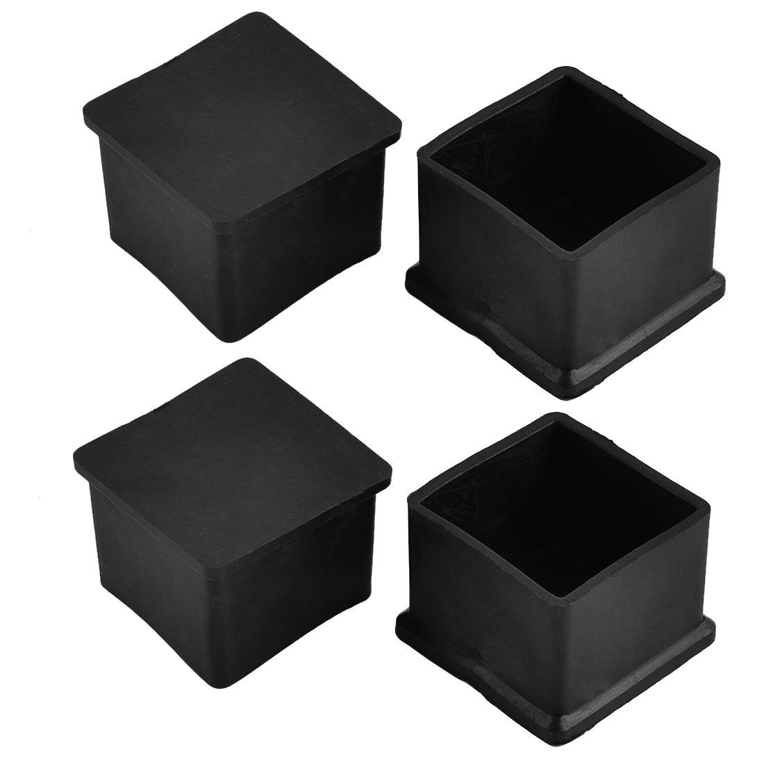 38mm x 38mm Square Shaped Home Furniture Foot Leg Rubber End Cap Cover Black 4pcs
