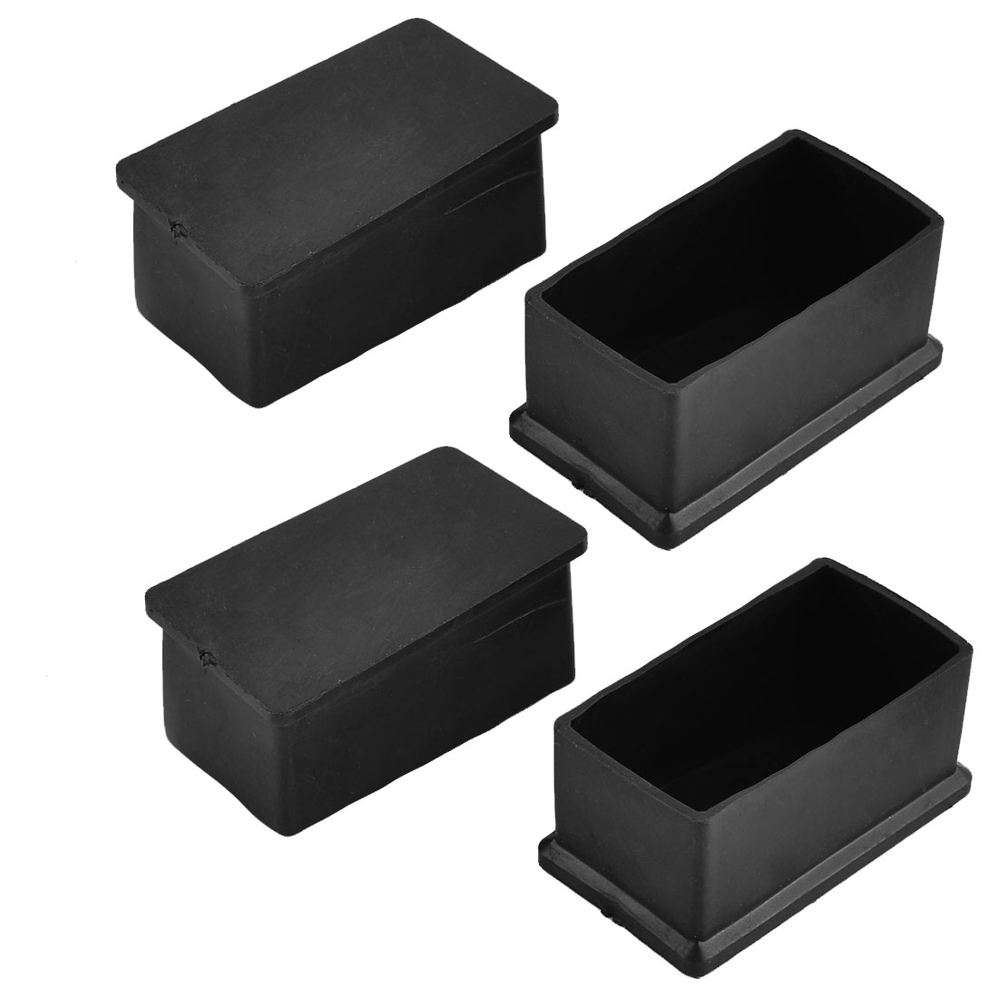 60mm x 30mm Rubber Rectangle Shaped Furniture Table Foot Cover Caps Black 4pcs