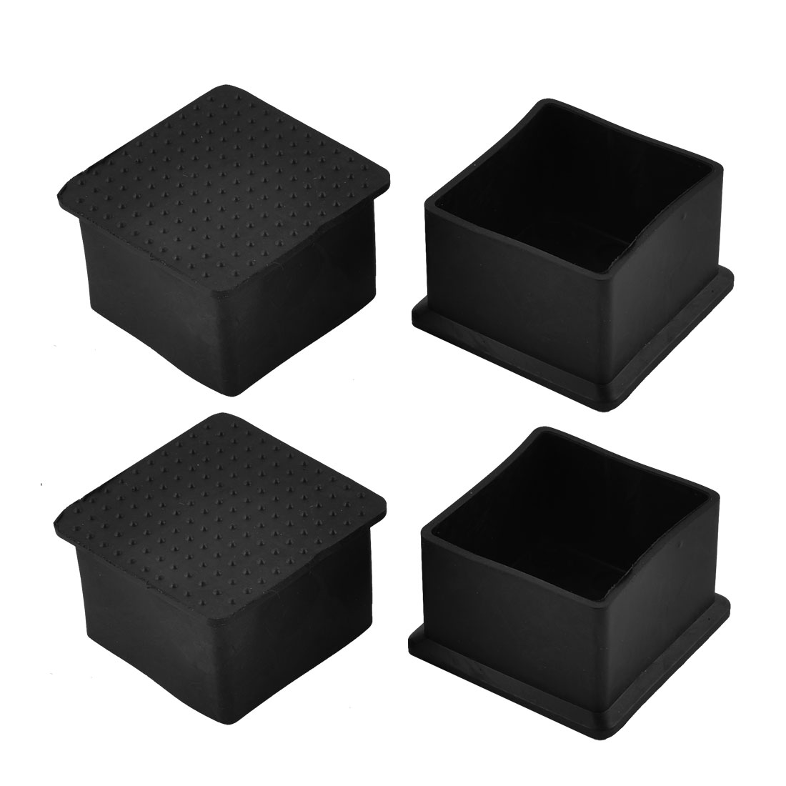 45mm x 45mm Square Shaped Furniture Foot Leg Rubber End Cap Cover Black 4pcs