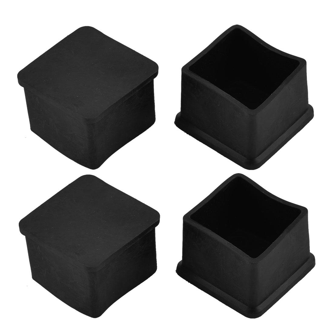 35mm x 35mm Square Shaped Furniture Table Leg Foot Rubber Cover Caps Black 4pcs