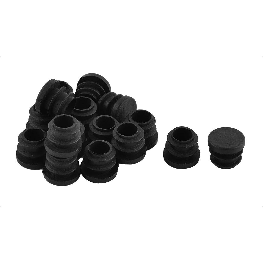 Furniture Desk Chair Plastic Round Tube Insert Cap Covers Black 16mm Dia 16pcs
