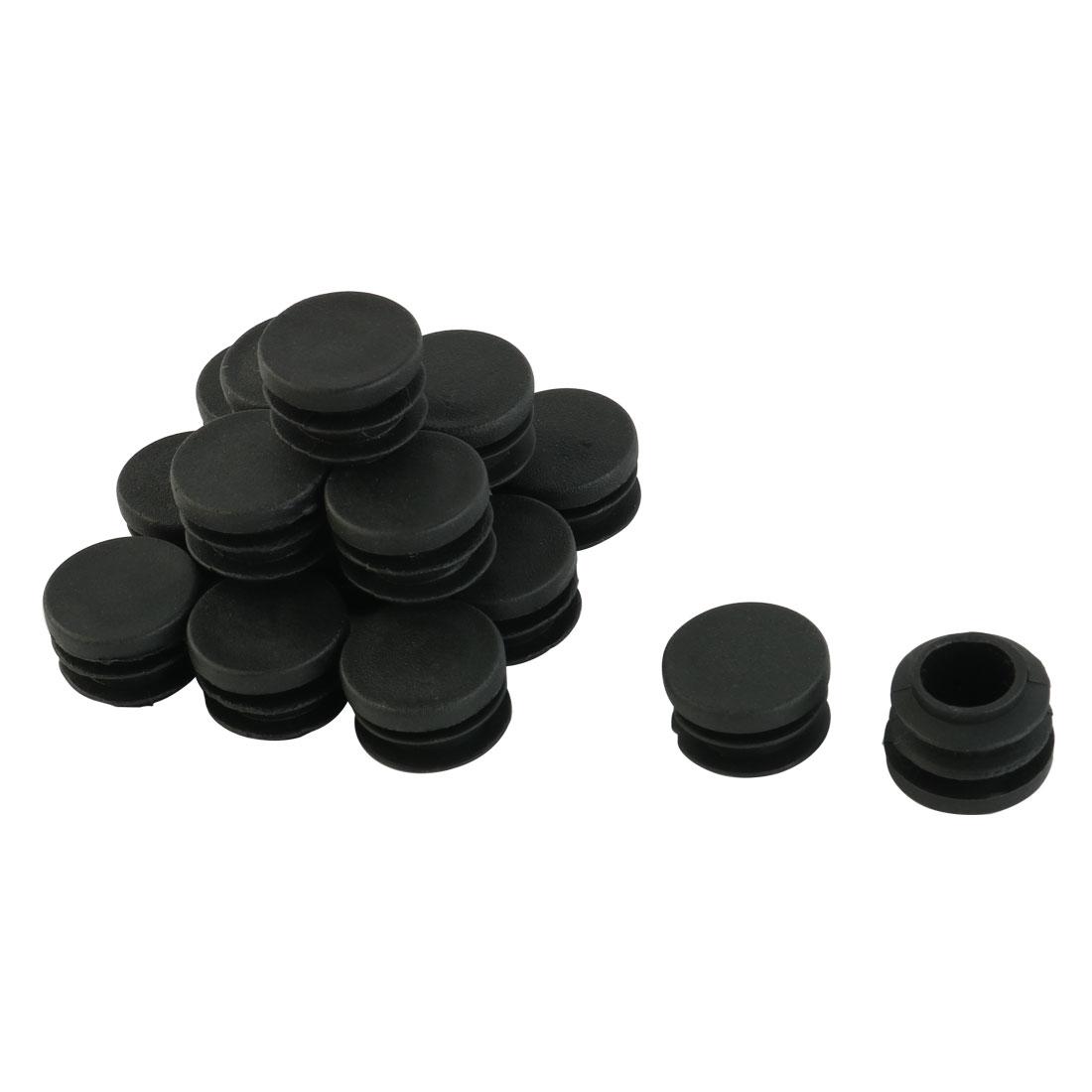 Furniture Foot Plastic Round Tube Insert Cap Cover Protector Black 19mm Dia 16pcs