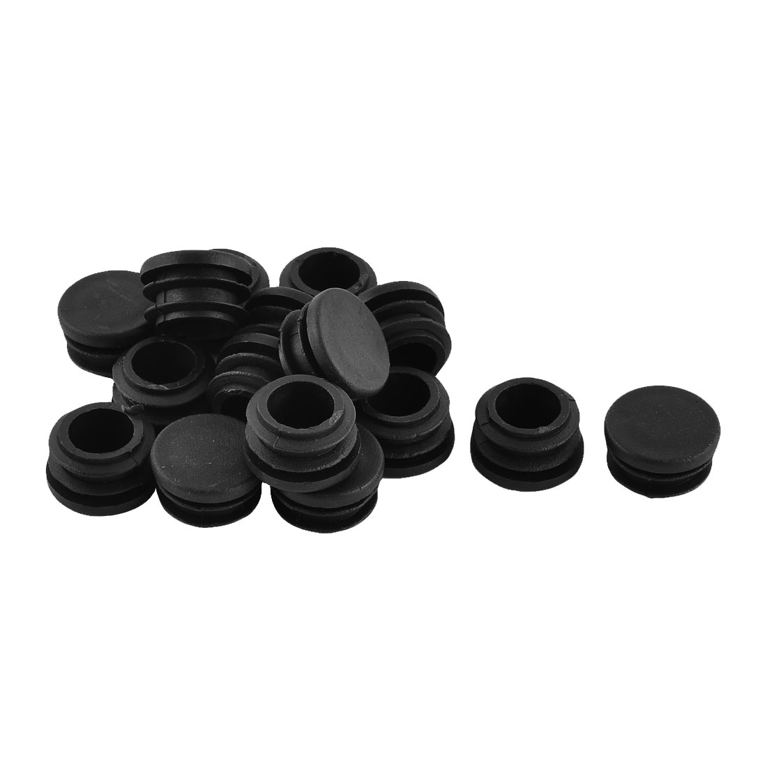 22mm Dia Plastic Furniture Table Chair Round Tube Insert Cap Cover Black 16pcs