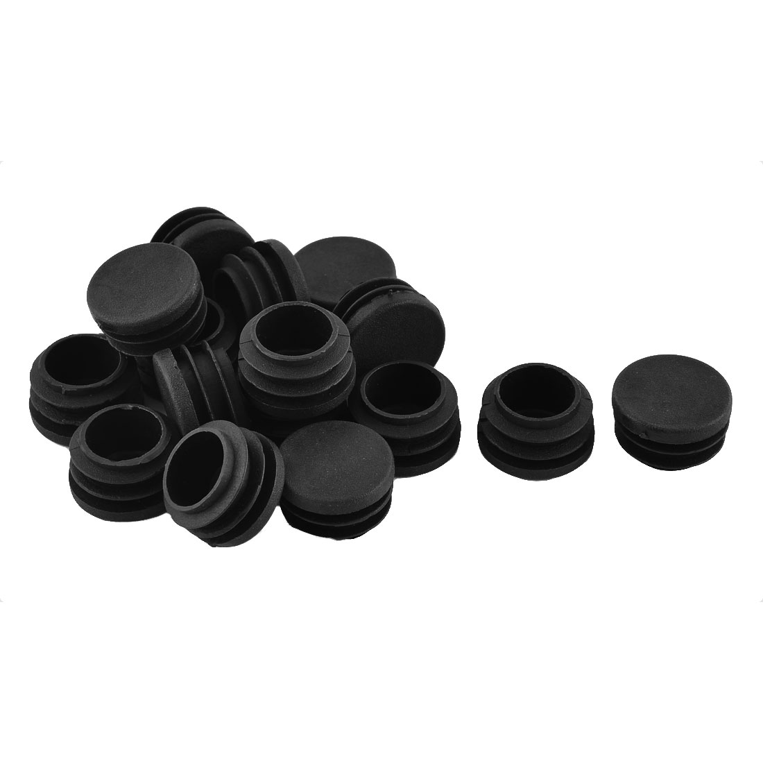 Furniture Table Chair Plastic Round Tube Insert Floor Protectors 28mm Dia 16pcs