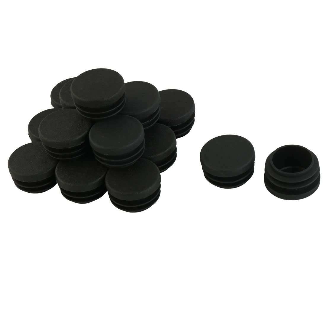 Furniture Cabinet Table Legs Plastic Round Tube Insert Caps Black 30mm Dia 16pcs